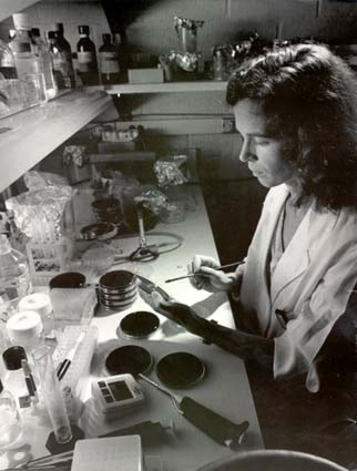 A woman in a lab working with a Petri dish