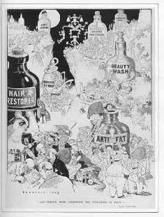Cartoon with pictures of bottles showing different remedies.