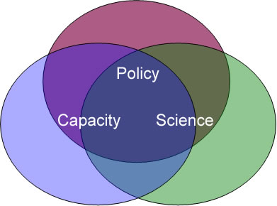 intersecting circles with words Policy, Capacity, Science