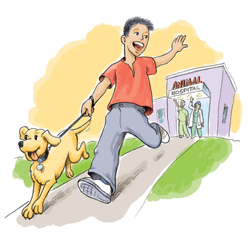 A boy and his dog leaving the animal hospital.