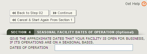 SEPRM Section 4 - Facility Seasonal Dates Of Operation