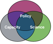 Venn Diagram showing overlapping areas of science, policy and capacity