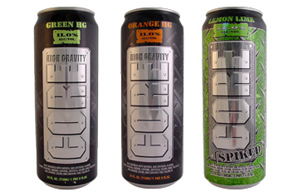 three drink cans: Green HG Core High Gravity, Orange HG Core High Gravity, Lemon Lime Core Spiked
