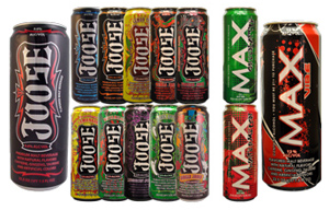 fourteen drink cans in various colors showing Joose and Max products