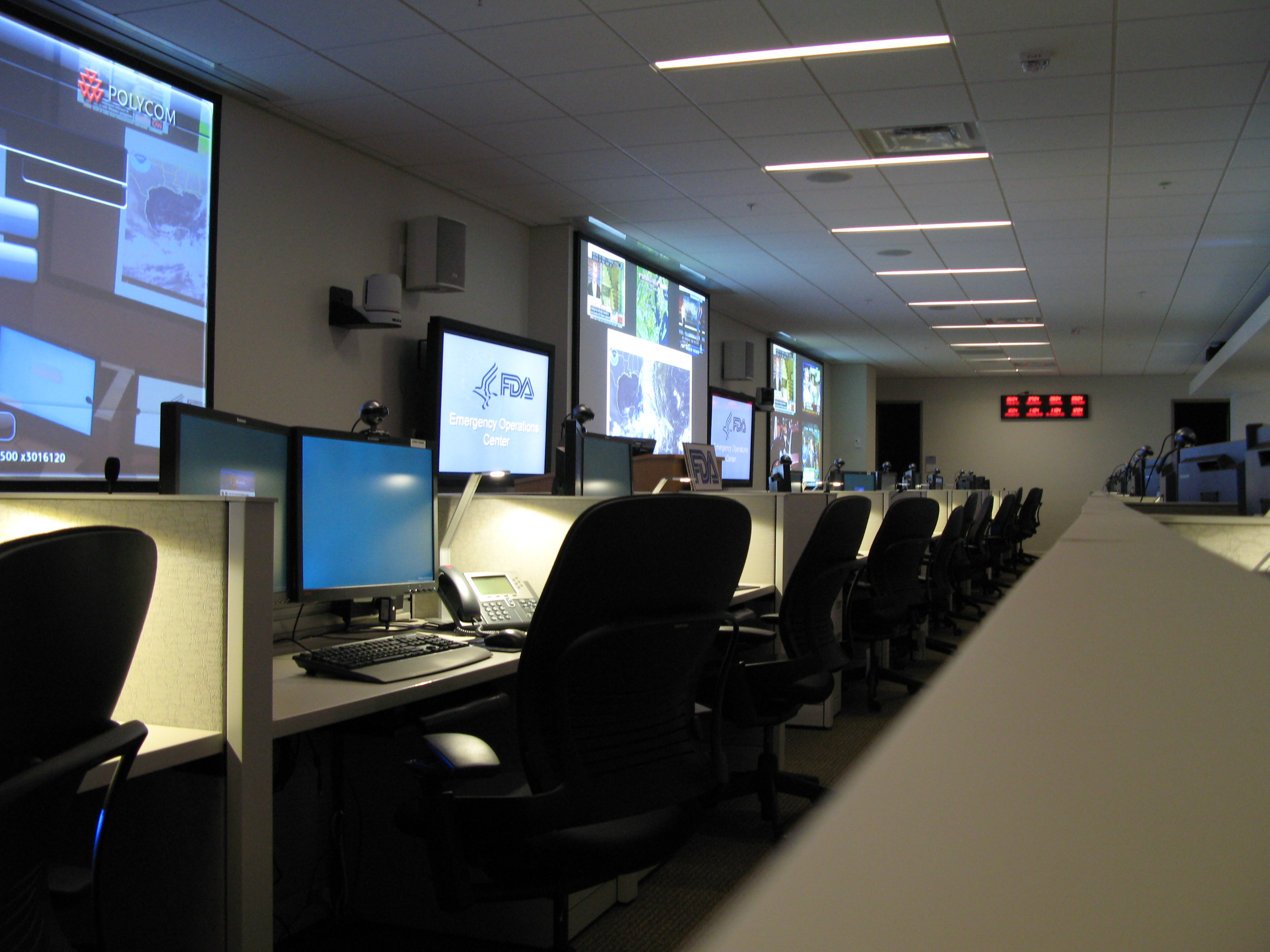 Front row of desks in the Emergency Operations Center