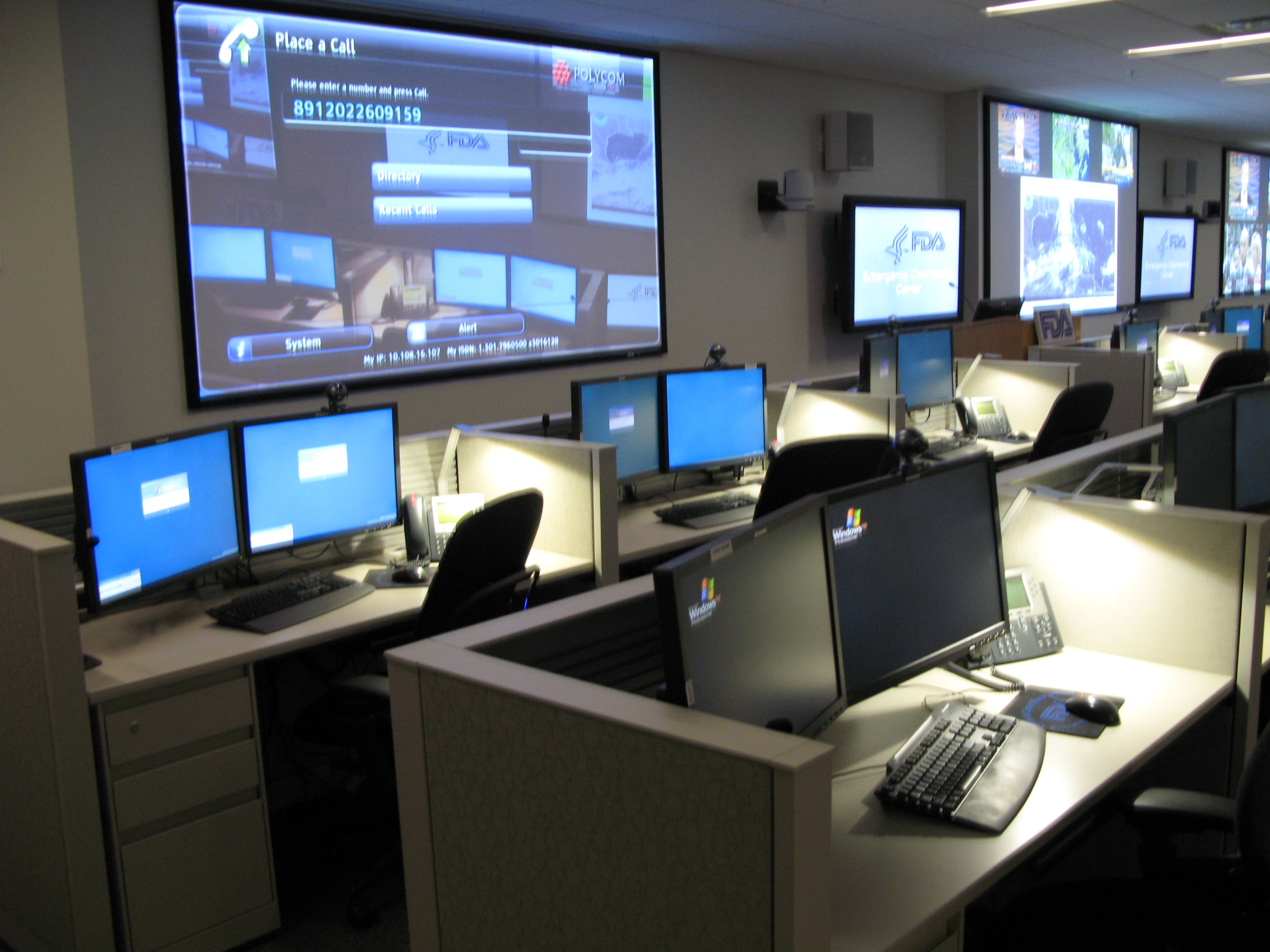 Front desk and screens in the Emergency Operations Center