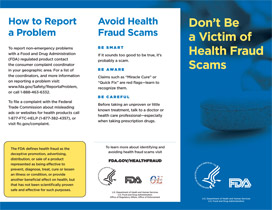 Document cover page of Don't Be a Victim of Health Fraud Scams