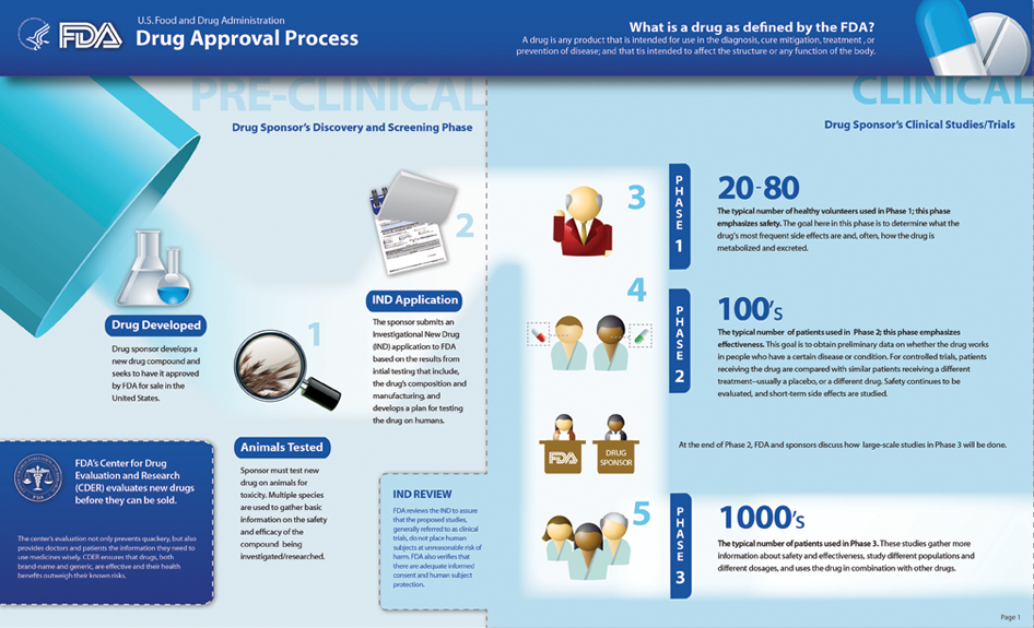 Link to PDF version (FDA Drug Approval Process Infographic - Page 1)
