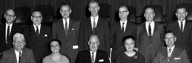 Group picture of ten men and two women at the 1961 joint conference between the FDA and the Food Law Institute