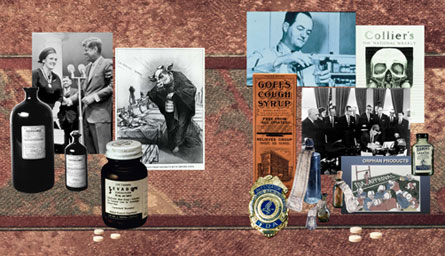 Montage of images from FDA drug regulation history