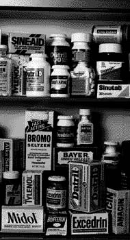 Several over-the-counter medicines, including Midol, Excedrin, Bromo Seltzer, Bayer aspirin, Sinutabs, Datril, Tylenol