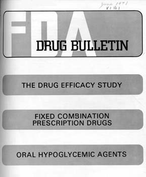 Cover of the publication FDA Drug Bulletin. Articles listed on the cover are