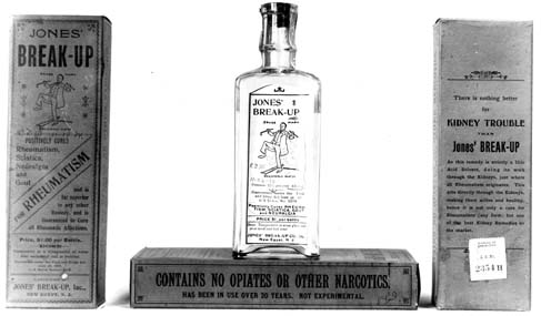 A bottle and boxes of a product called Jones's Break-Up. Label claims visible in the photo are
