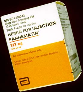 Box labeled Hemin for Injection; Panhematin