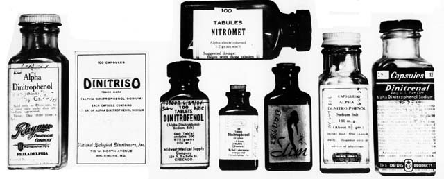 Medicine bottles with the product names Alpha Dinitrophenol, Dinitriso, and Nitronet