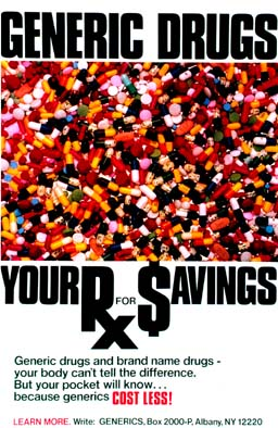 Cover of a book called Generic Drugs: Your Rx for Savings. Additional text on the cover: Generic drugs and brand-name drugs - your body can (') t tell. But your pocket will know...because generics cost less!