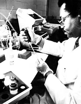 Man sitting at a laboratory bench