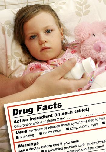 IDrug Facts label, child in bed receiving medicine