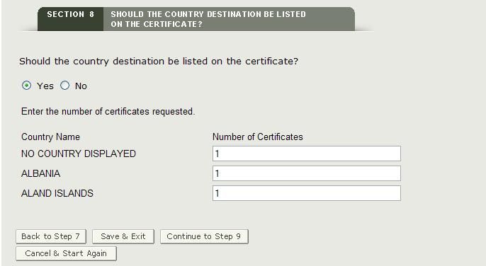 Section 8: Specify Country and Number of Certificates Requested