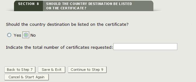 Sectioion 8: No Country Specified and Number of Certificates Requested