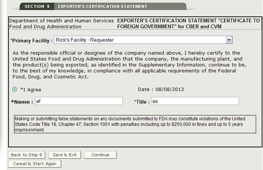 Section 9: Exporter's Certification Statement