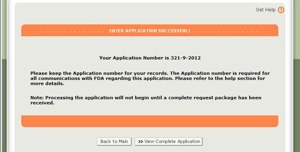 Submission Page displaying your Application Number