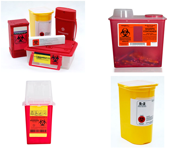 Image of various sharps containers