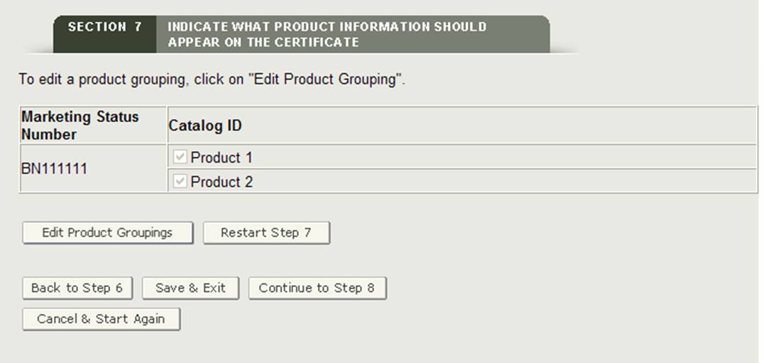 Section 7: Edit Product Grouping Review Page