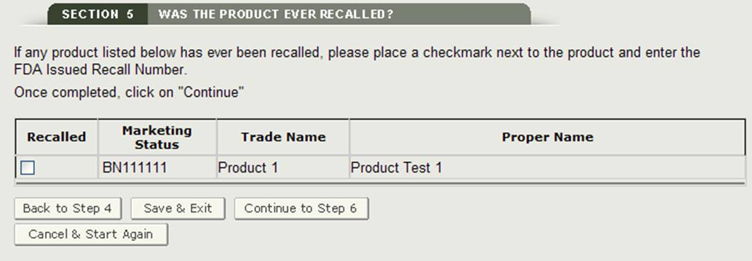 Section 5: Add Recalled Product