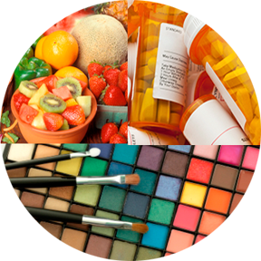 Photo montage of food, cosmetics, drugs