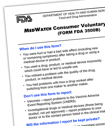 MedWatch Consumer Voluntary Reporting form