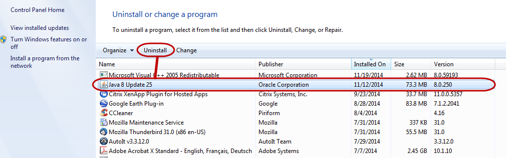 Screenshot: Click on a previous version of Java and click 'Uninstall'