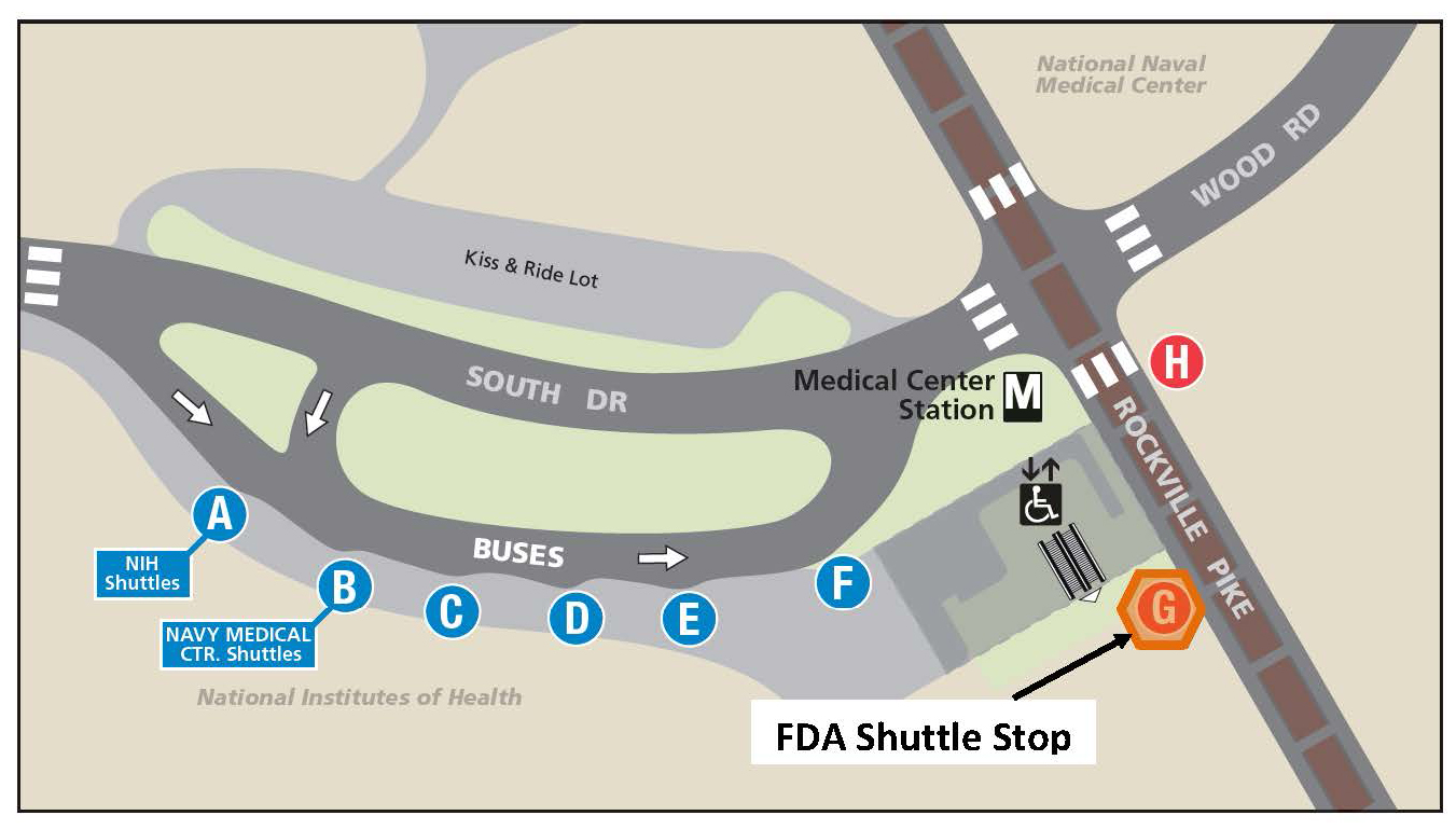 White Oak Shuttle Bus Stop Location at the Medical Center Metro Station