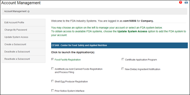 FDA Industry System Home Page screen