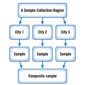 Within a given market-basket region, samples of TDS foods are collected from three different cities.  For each food, the samples from the three cities are combined into a composite sample.