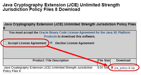 Click the radio button next to 'Accept License Agreement'. Then click on 'jce_policy-8.zip' to download the JCE files: