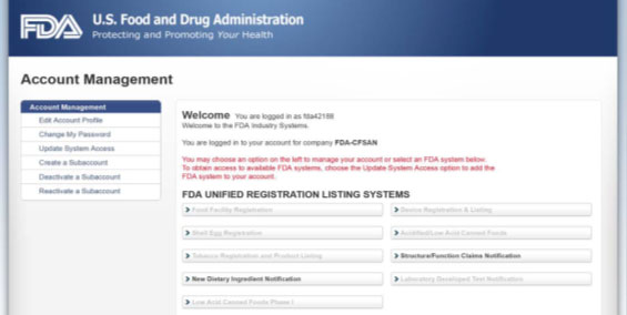 FDA Unified Registration Listing Systems (FURLS)