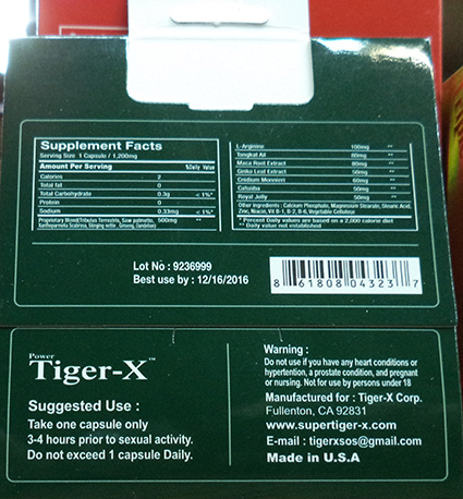 Tiger-X single capsule back label