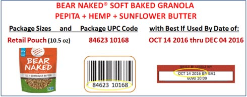 Product images and coding for Bear Naked Soft Baked Granola Pepita + Hemp + Sunflower Butter