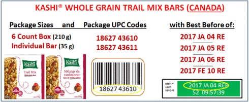 Product images and coding for Kashi Whole Grain Trail Mix Bars (Canada)
