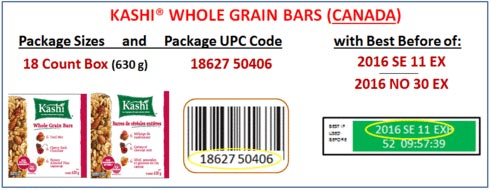 Product images and coding for Kashi Whole Grain Bars (Canada)