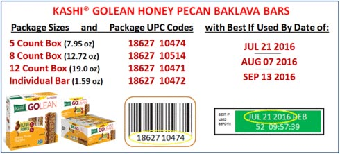 Product images and coding for Kashi Go Lean Honey Pecan Baklava Bars