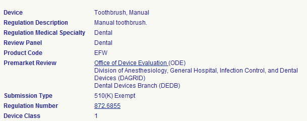 Sample Medical Device Classification Search on Manual Toothbrush (Details)